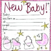 Luxury New Baby Girl Announcement Cards - Pack of 8